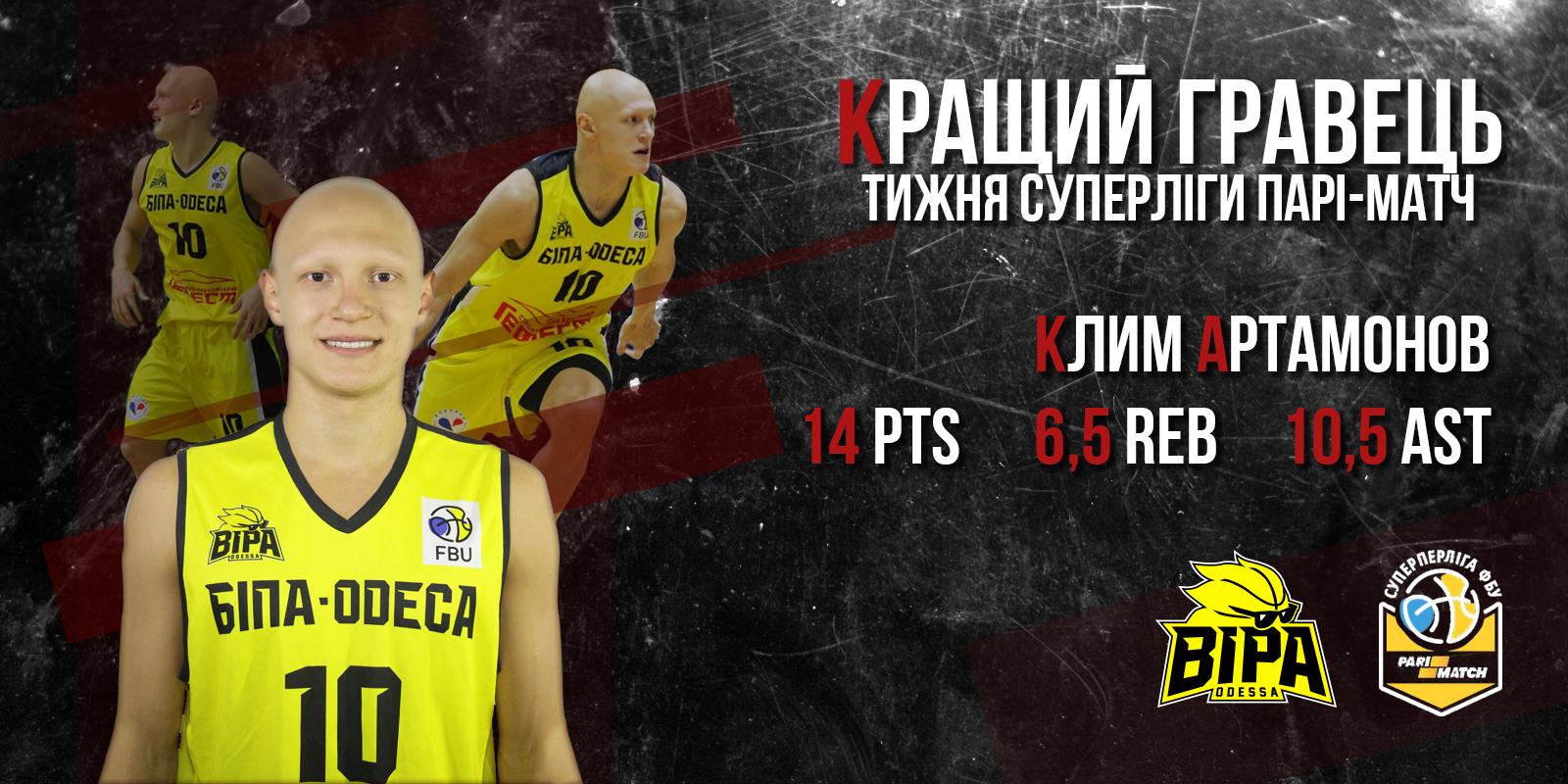 Титул MVP тижня перед Фіналом чотирьох отримав капітан одеситів Клим Артамонов