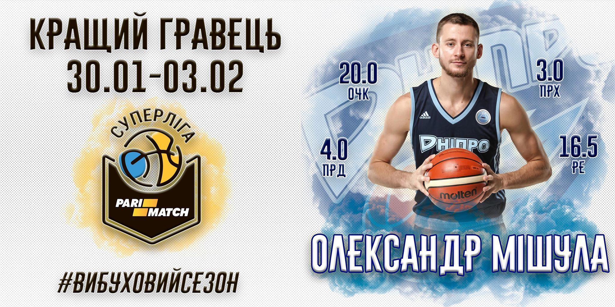 Вперше у cезонi титул MVP тижня отримав гравець Дніпра
