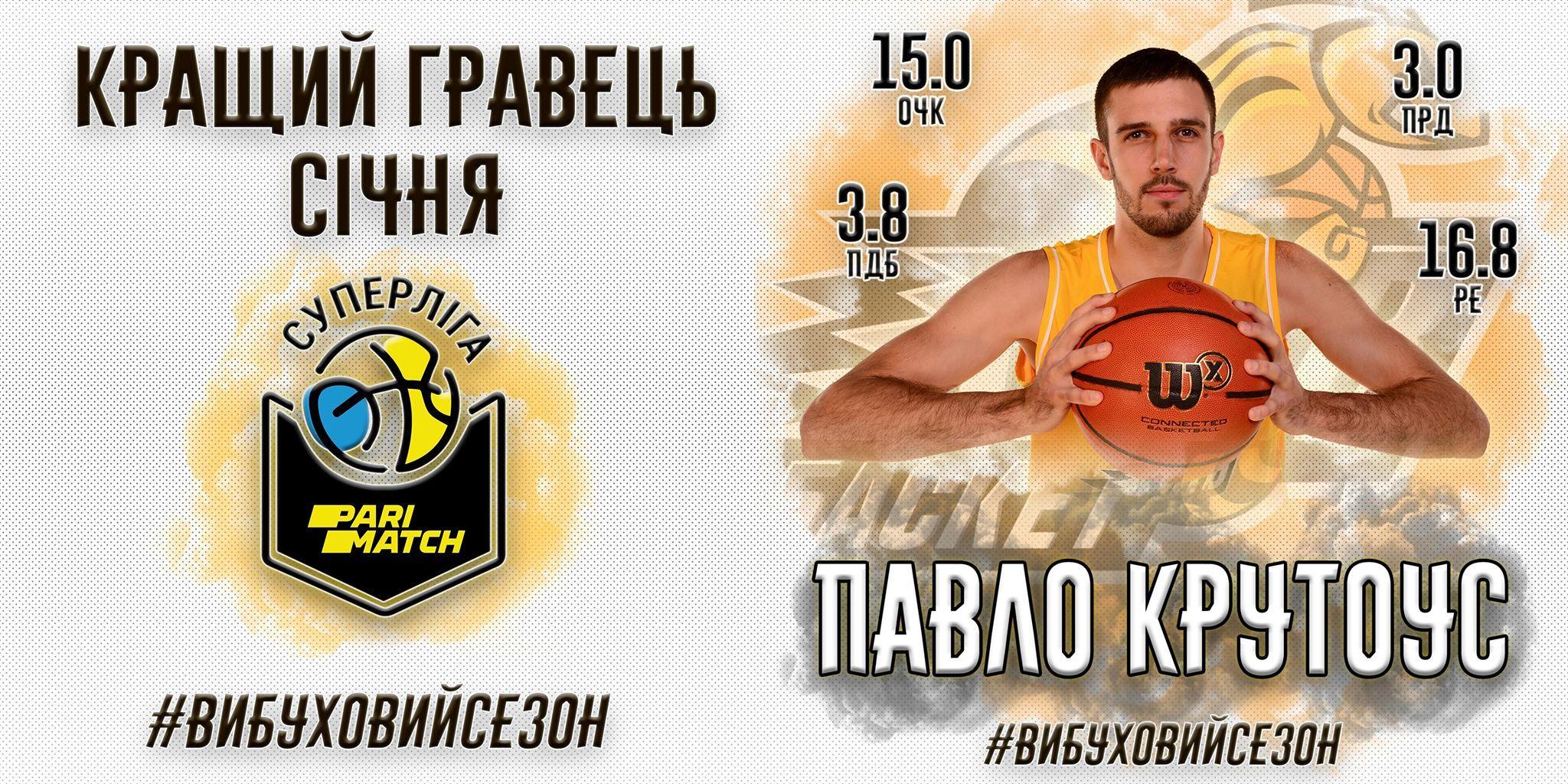 Найціннішим гравцем січня у Суперлізі Парі-матч став баскетболіст збірної України