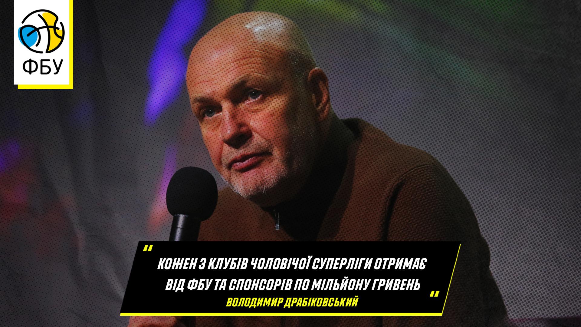Володимир Драбіковський: кожен з клубів чоловічої Суперліги отримає від ФБУ та спонсорів по мільйону гривень